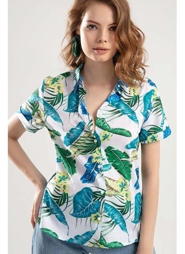 Pattaya Pattaya Kadın Duble Kol Çiçekli Gömlek PTTY20S-347 Beyaz